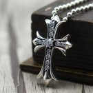 S925 Sterling Silver Hip-hop rock style Inlaid zircon Cross Pendant-Chrome Hearts Silver jewelry