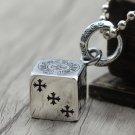 S925 Sterling Silver Cross anchor, multi element square dice pendant-Chrome Hearts Silver jewelry