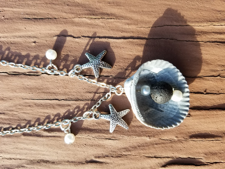 Shell aromatherapy lava rock necklace