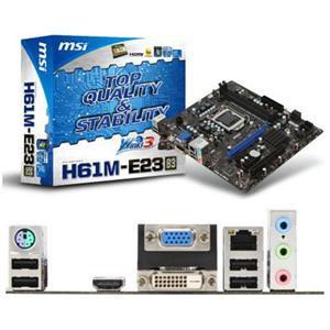 MSI H61M-E23  Desktop Motherboard - Intel - Socket H2 LGA-1155