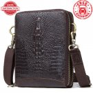 Genuine Leather Vintage Men s Crocodile Pattern Messenger Shoulder Crossbody Bag