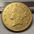 Souvenir USA 1849 Liberty Head $20 Gold Plated - FREE SHIPPING