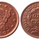 Souvenir USA Braided Hair Large Cent 1840 Copper - Free Shipping