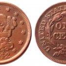 Souvenir USA Braided Hair Large Cent 1842 Copper - Free Shipping