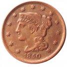 Souvenir USA Braided Hair Large Cent 1850 Copper - Free Shipping