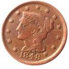 Souvenir USA Braided Hair Large Cent 1848 Copper - Free Shipping