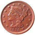 Souvenir USA Braided Hair Large Cent 1851 Copper - Free Shipping