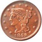 Souvenir USA Braided Hair Large Cent 1852 Copper - Free Shipping