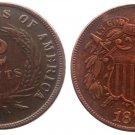 Souvenir USA Twoo Cent 1872 Copper - Free Shipping