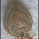Coro Brooch Clear Stones on Gold Colored Setting