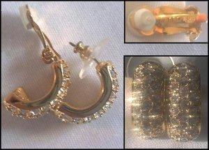 SWAROVSKI CRYSTAL GOLD PLATED EARRINGS CLIP & PIERCED