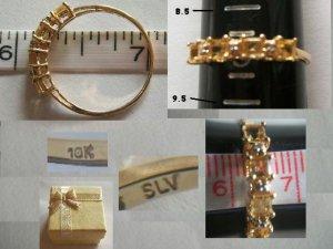 10K Yellow Gold / Citrine & Diamond Band Ring Size 9
