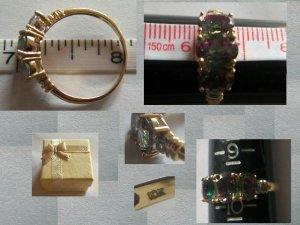 10K Yellow Gold  Mystic Topaz and Diamonds Size 9.75