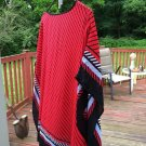 Jaclyn Smith  Poncho Size S/M Red And Black Striped