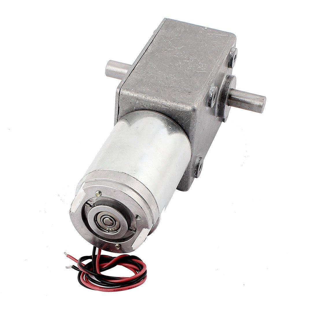 DC 24V 9RPM 1.5A 120KG.CM Dual Shafts High Torque Reversible Worm Gear Motor