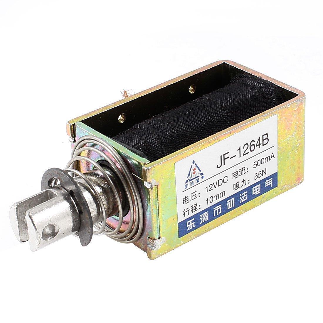 DC 12V 0.5A 10mm Stroke 5.5Kg Force Push Pull Open Frame Solenoid Electromagnet