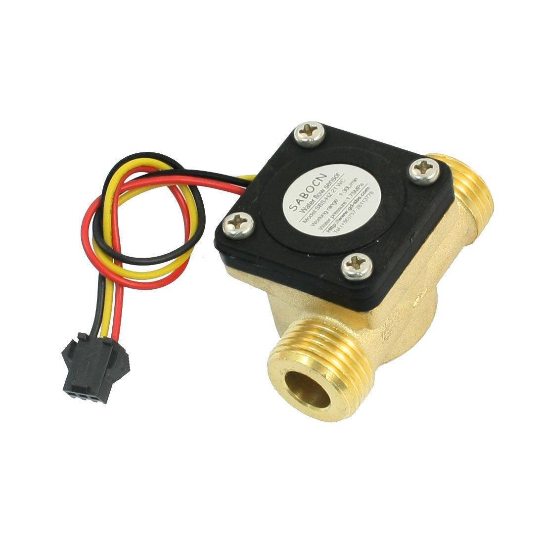 G1/2 Male Thread Brass Body Hall Effect Liquid Water Flow Sensor 1-30L/min