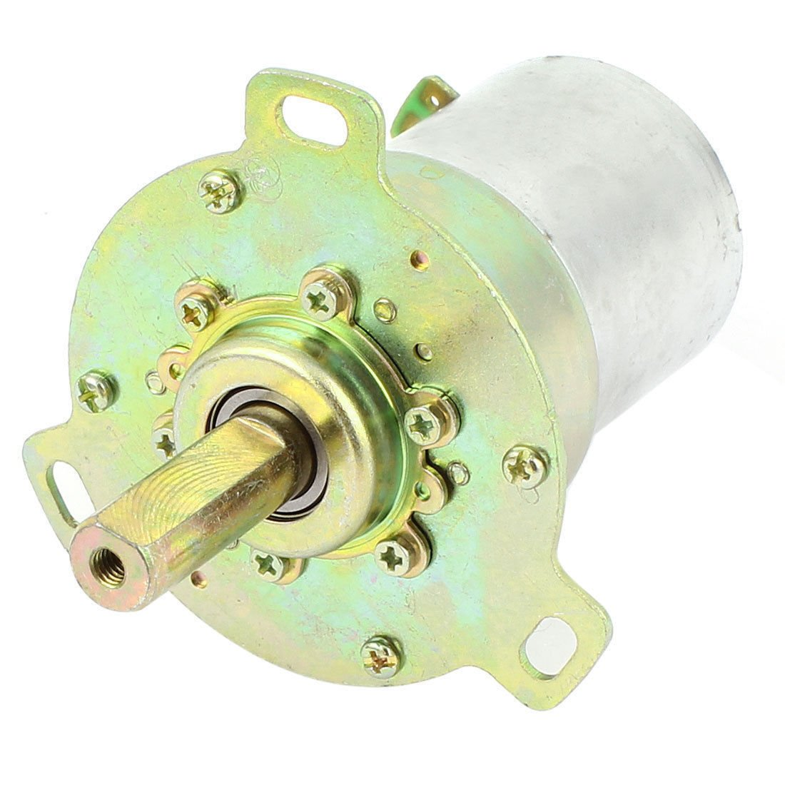 DC 12V 15RPM 10mm Dia Shaft 3 Pole Connector Cylinder Shape GearBox Motor 38ZY13