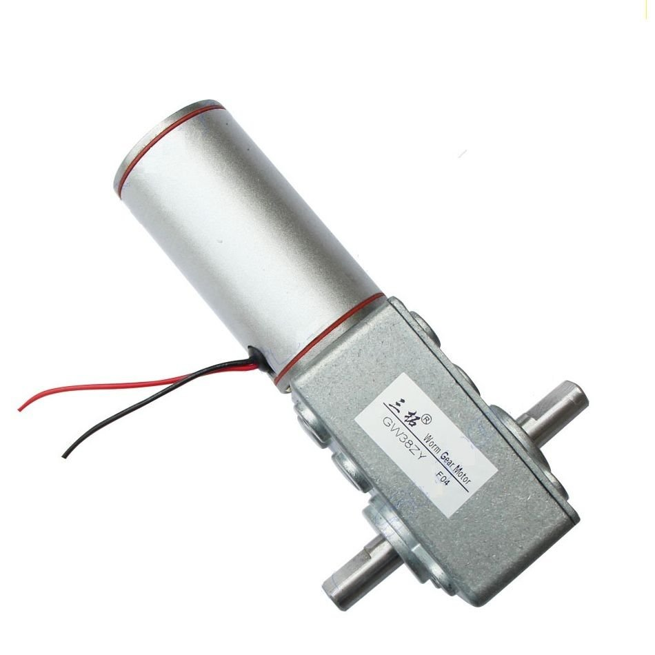 DC 12V 1.5A 6RPM 8W 32KG.cm High Torque Double Shaft Low Speed Gear Box Motor