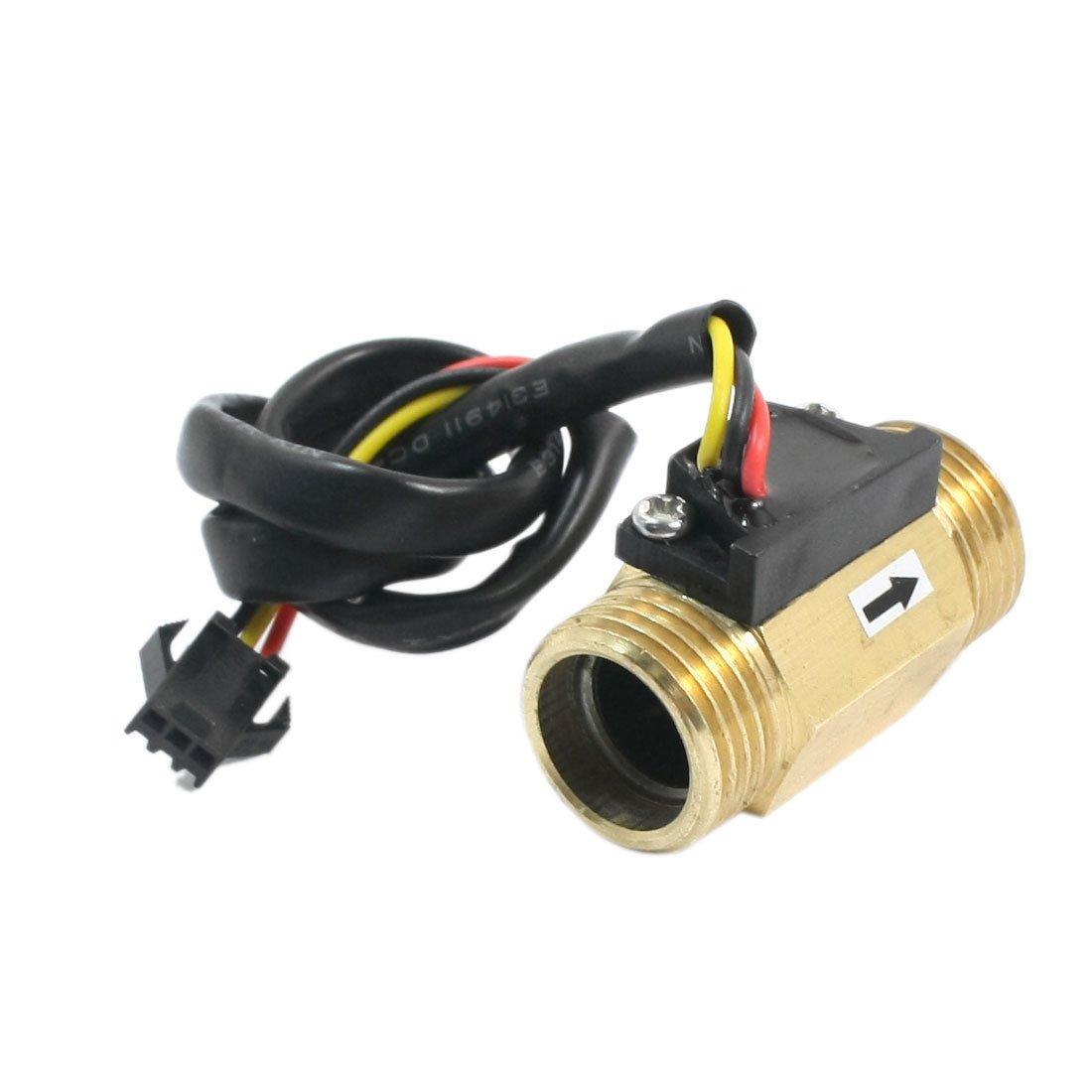 G1/2 Male Thread Brass Hall Effect Water Flow Sensor Flowmeter 1-30L/min