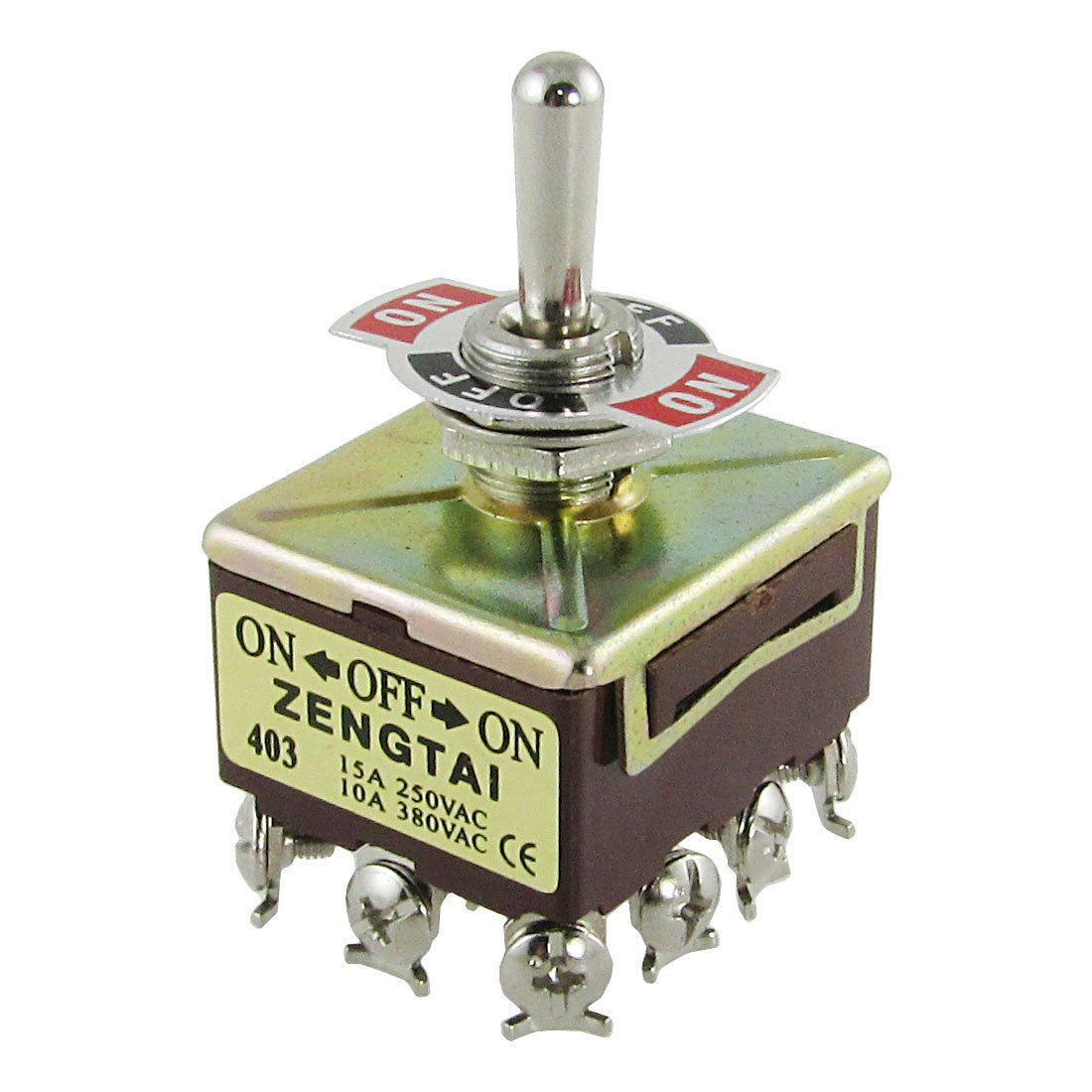 10A/380VAC 15A/250VAC 3 Position 4PDT ON-OFF-ON 12 Pin Toggle Switch TEN403