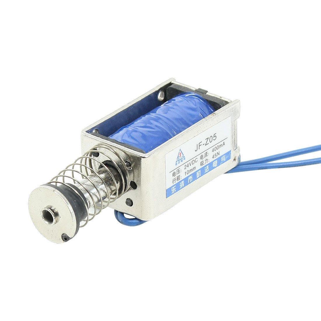 DC 24V 10mm 4.5Kg 9.9lb Push Pull Type Open Frame Solenoid Electromagnet JF-Z05