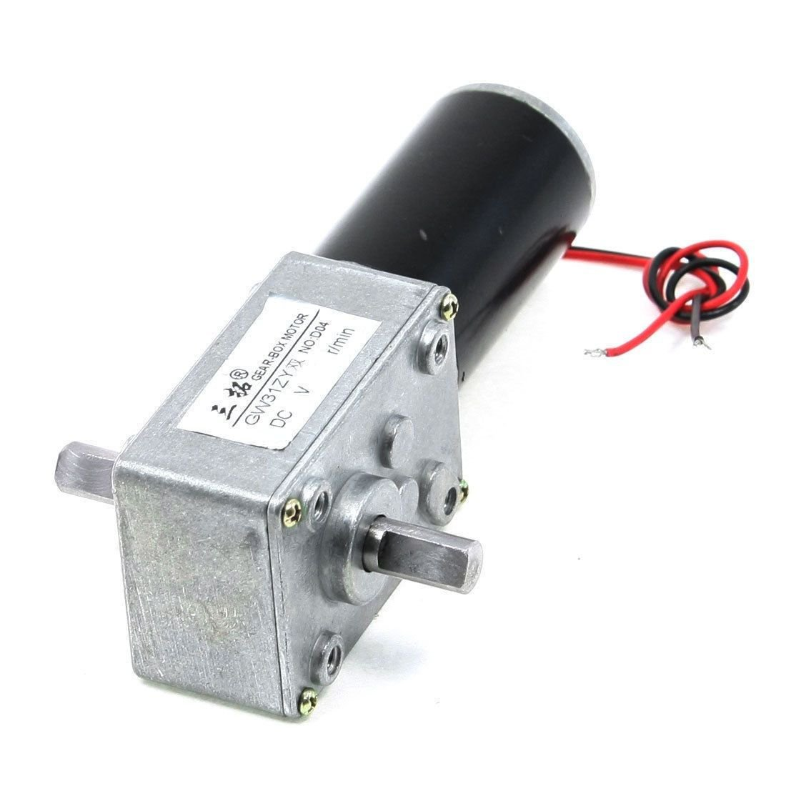 DC 12V 35RPM 1.8A 15KG.CM High Torque 8mm Diameter Dual Shaft Worm Gear Motor