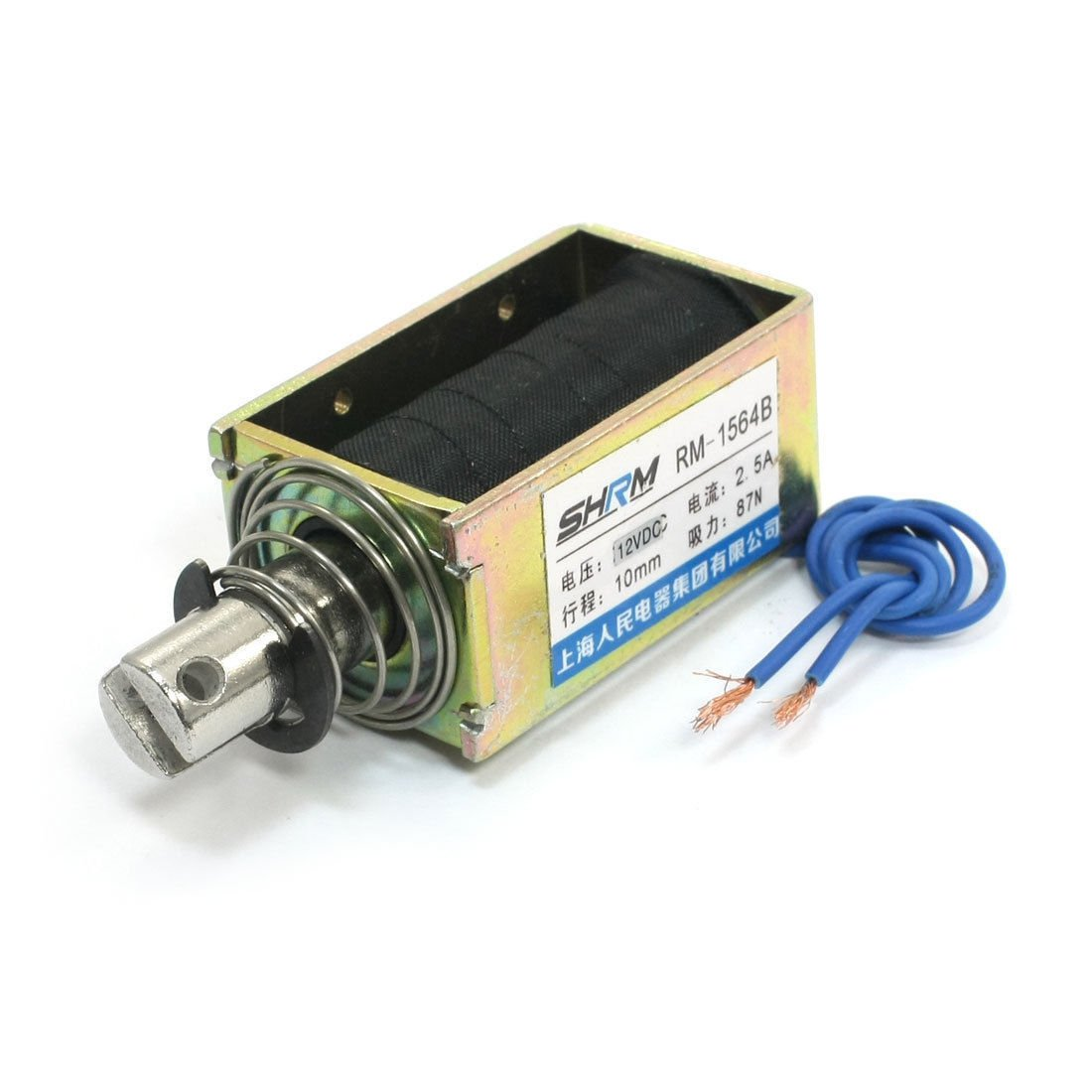DC 12V 2.5A 87N/10mm Pull Push Type Two Wired Solenoid Electromagnet RM-1564B