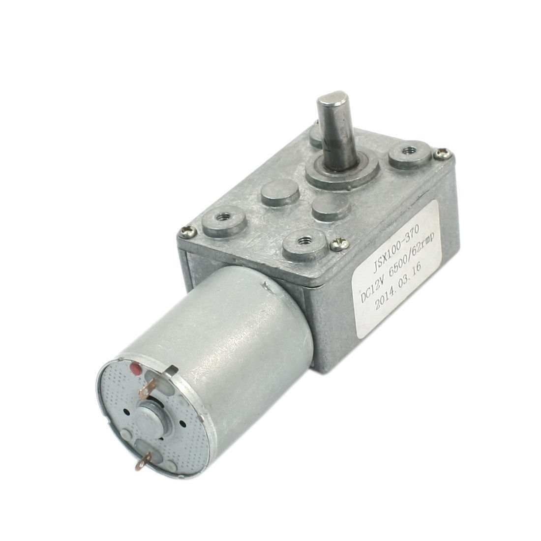 DC 12V Reduction Ratio 6500RPM/62RPM 2-Pin Worm Gear Motor