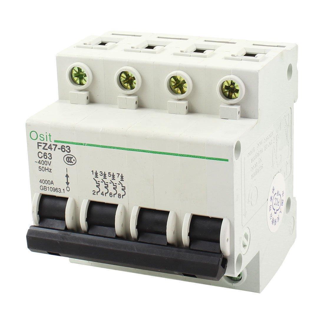 AC 400V 63A 4 Pole 4P On/Off Switch Miniature Circuit Breaker FZ47-63 C63