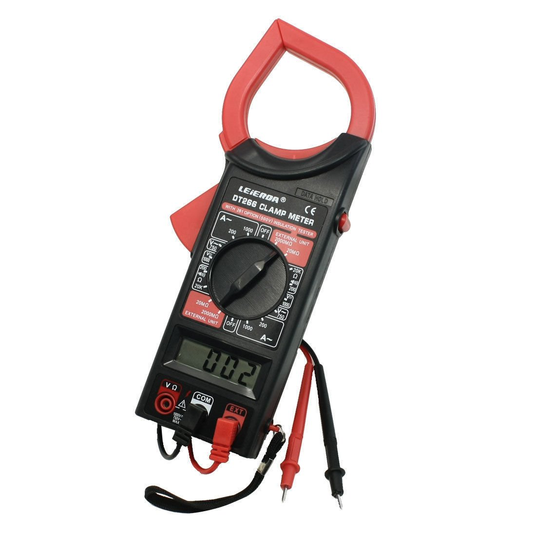 AC/DC Electronic Tester Digital Clamp Meter with Test Probe Leads DT-266