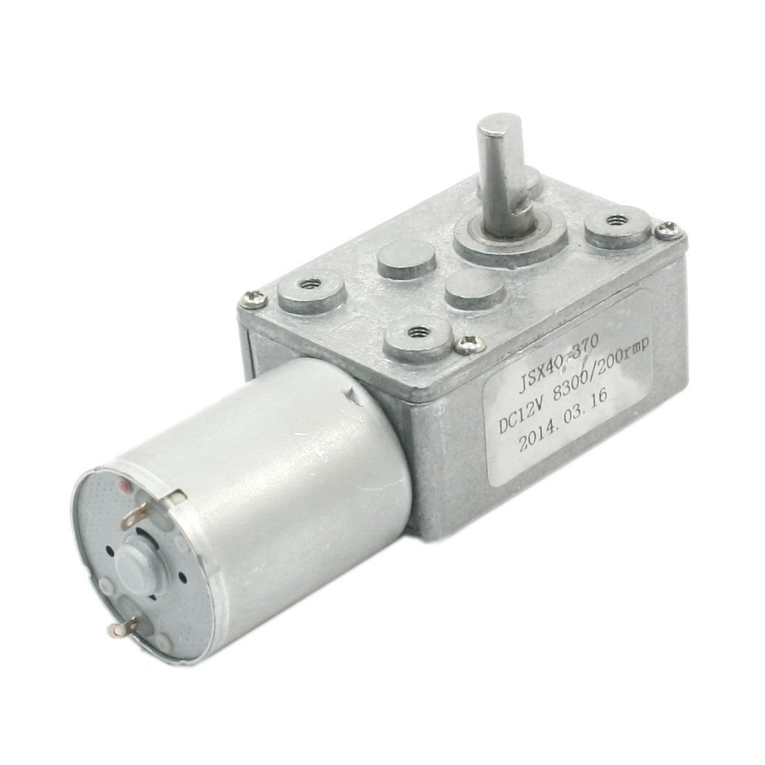 DC 12V Reduction Ratio 8300RPM/200RPM 2-Pin Connecting Worm Gear Motor JSX40-370