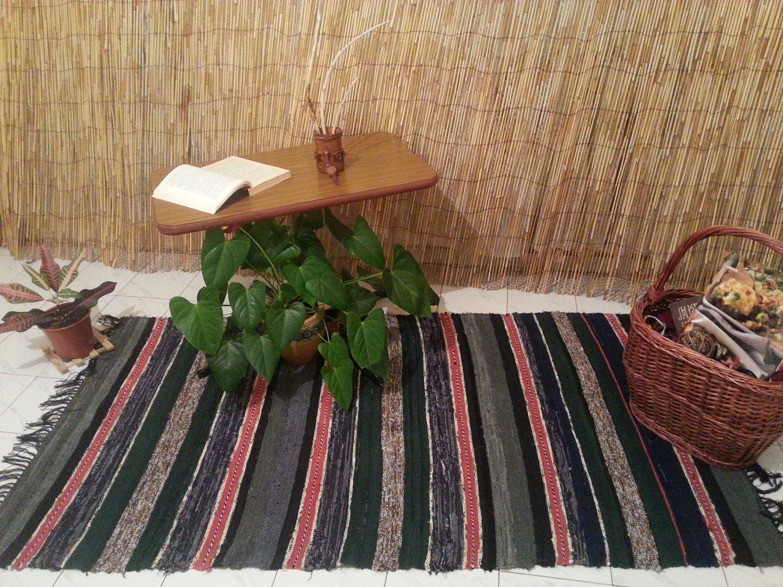 Multicolor Hand-woven Rag Rug- Striped Runner Rug-Turkish Kilim-Boucherouite Rug-Cotton Rug