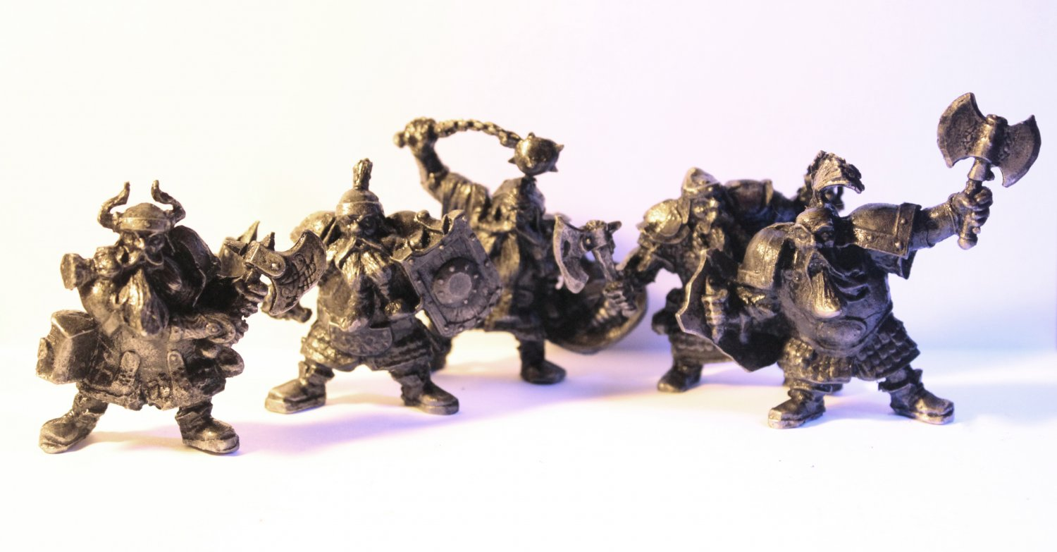 dwarf, gnome, metal, Warhammer, lord of the rings, tin, miniature, 1/35, 54mm,  tin, set of 5 things