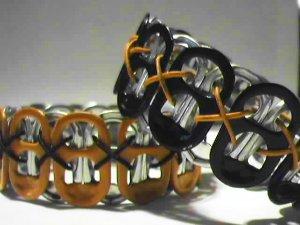 2 PK - Black & Orange Pop-Tab Bracelets  (SCX)