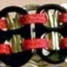 Black & Metallic Red Pop-Tab Bracelet (=)