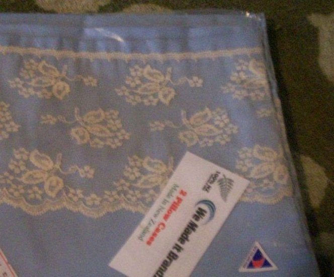 Light Blue Pillow Cases (lace)