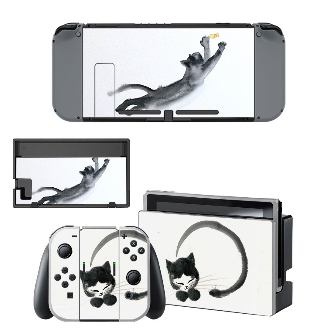 Cat stretching decal skin sticker for Nintendo Switch console and controllers