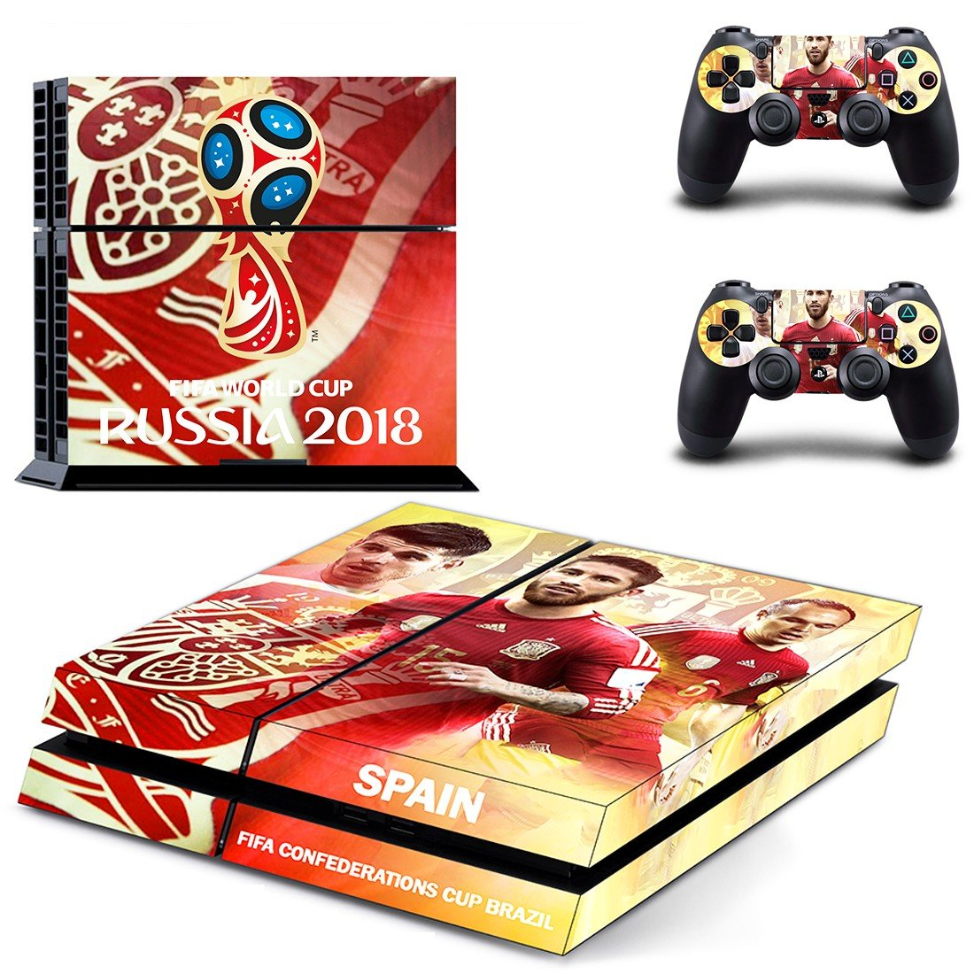 2018 FIFA World Cup Spain decal skin sticker for PS4 console and controllers