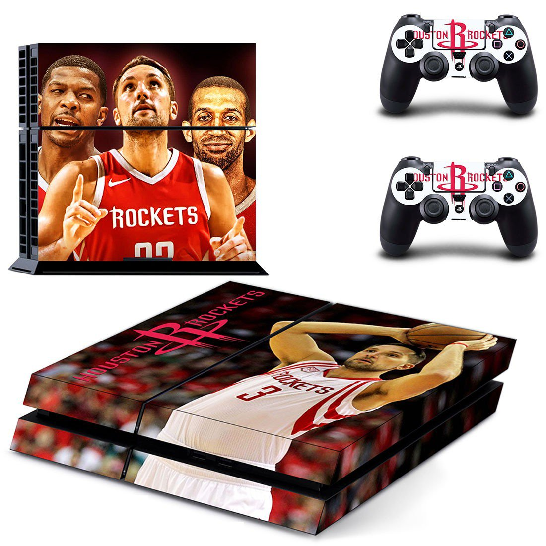 Houston Rockets decal skin sticker for PS4 console and controllers