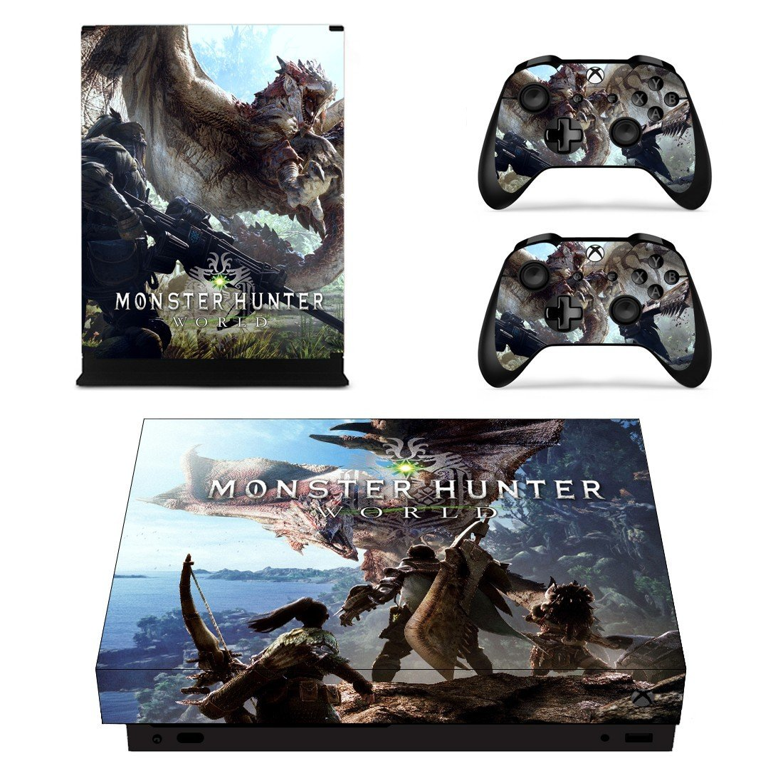 Monster Hunter world decal skin sticker for Xbox One X console and controllers