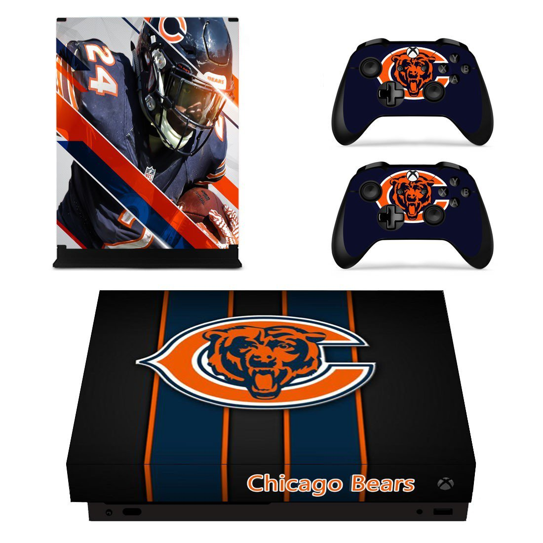 Chicago Bears decal skin sticker for Xbox One X console and controllers