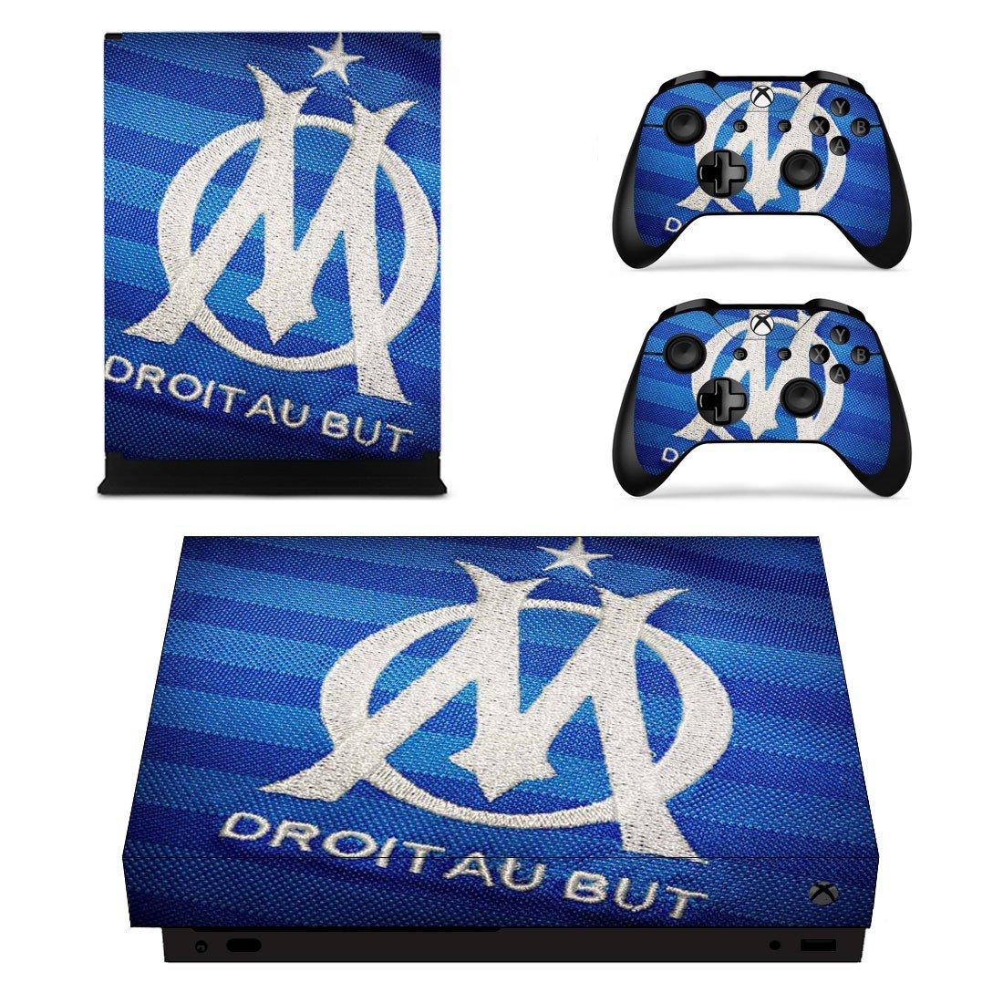 Olympique de Marseille decal skin sticker for Xbox One X console and controllers
