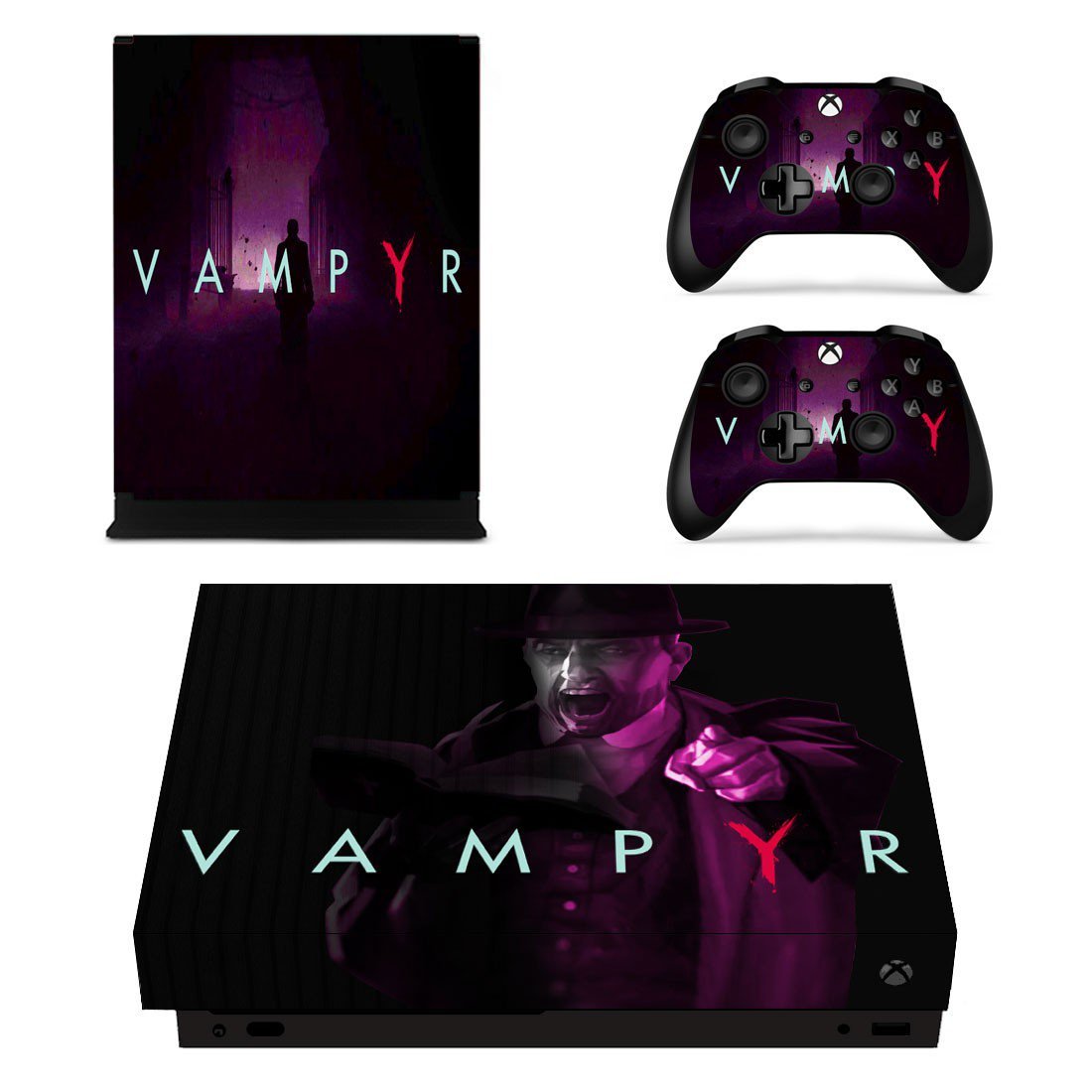 Vampyr decal skin sticker for Xbox One X console and controllers