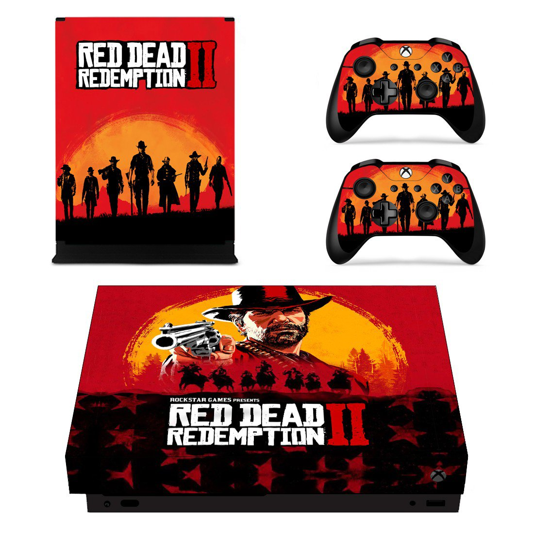Red Dead Redemption 2 decal skin sticker for Xbox One X console and controllers