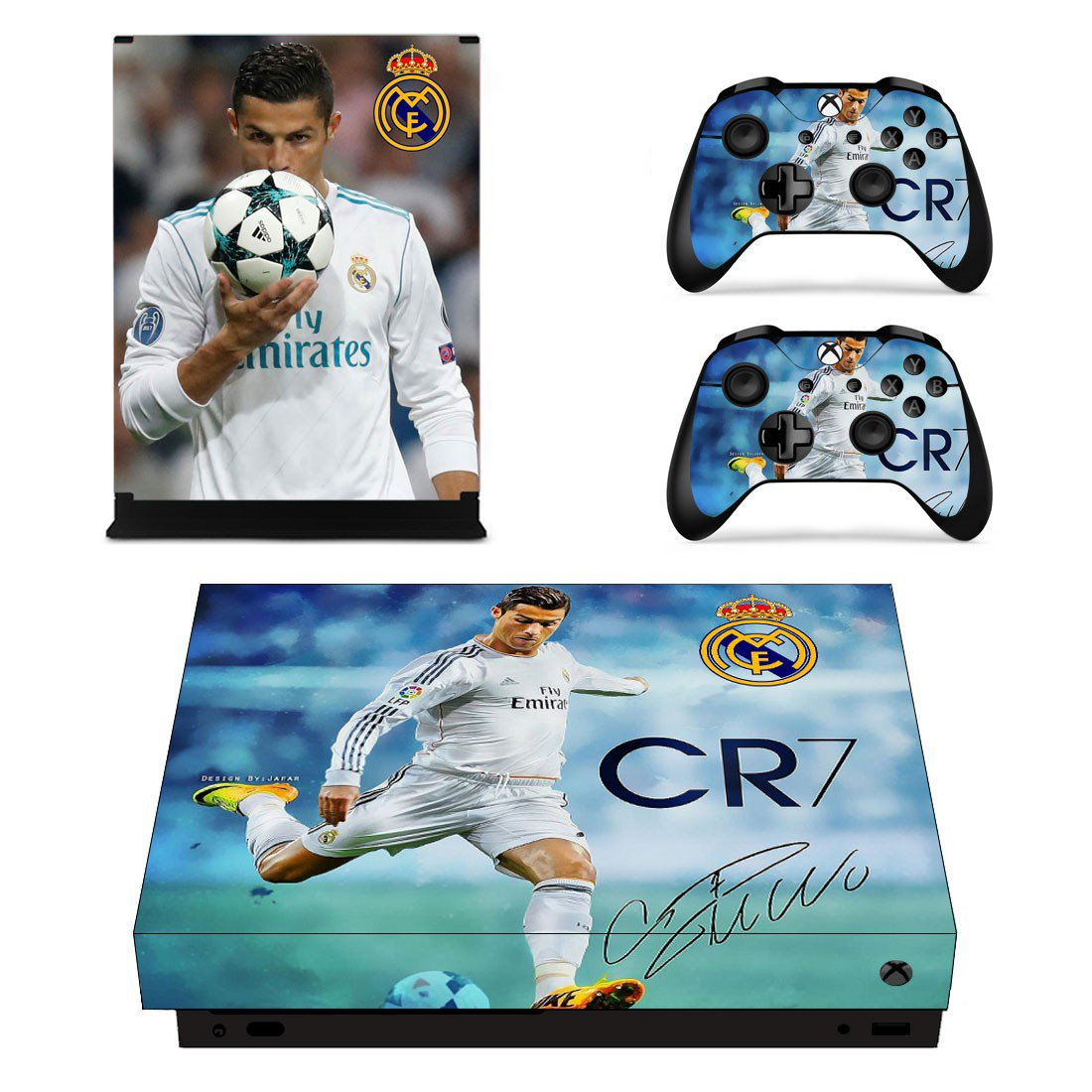 Cristiano Ronaldo decal skin sticker for Xbox One X console and controllers