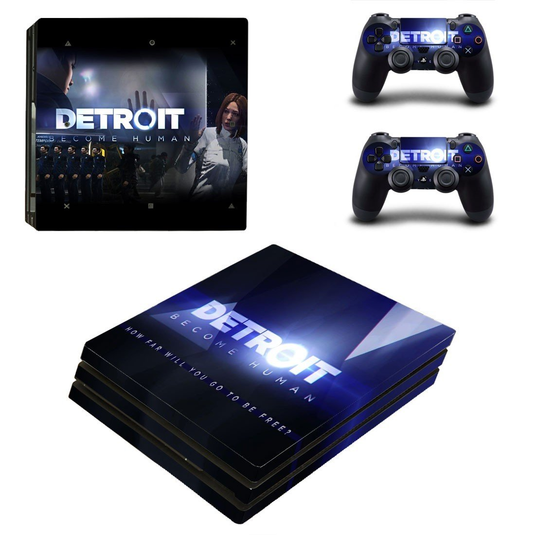 Detroit Become Human decal skin sticker for PS4 Pro console and controllers