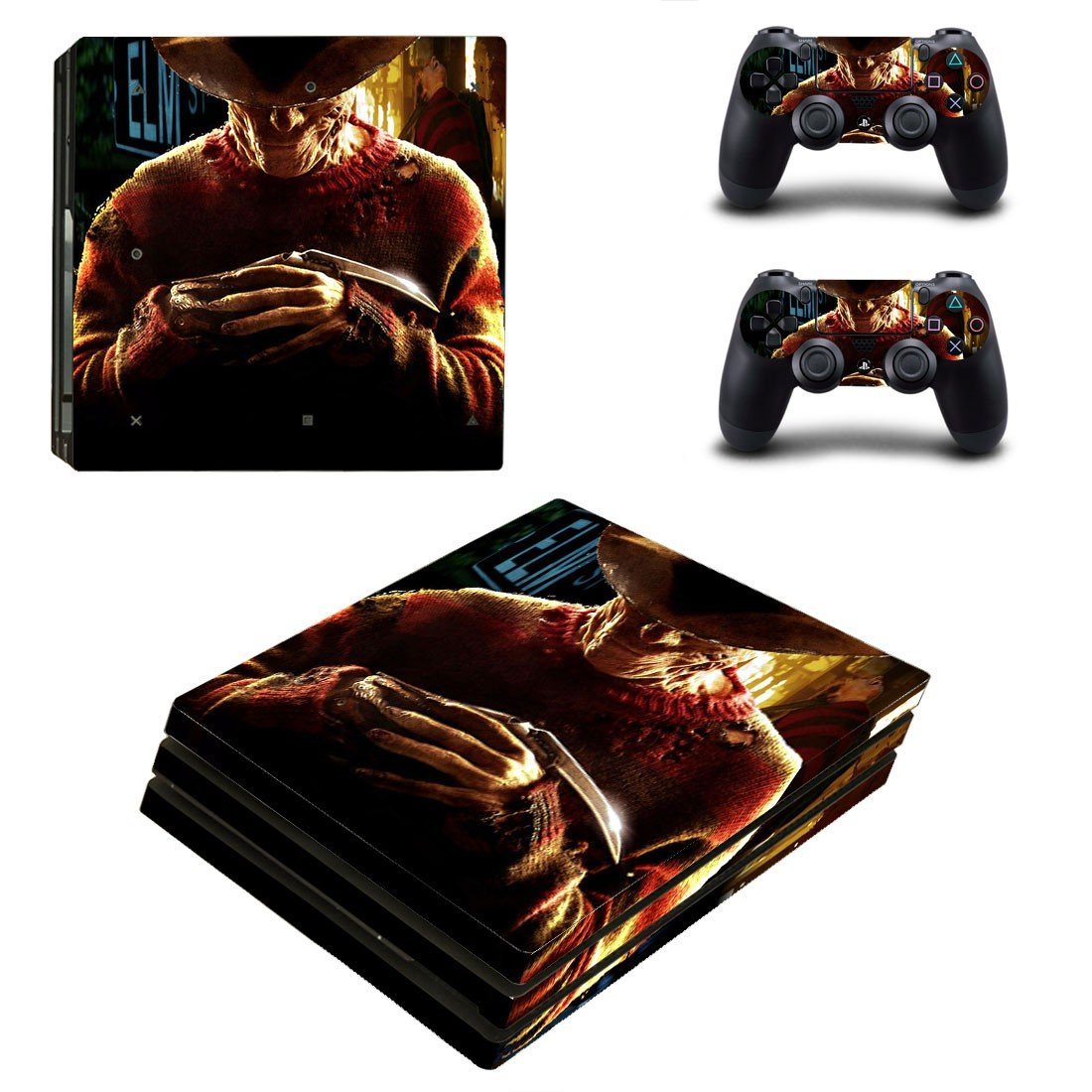 A Nightmare on Elm Street decal skin sticker for PS4 Pro console and controllers
