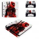 Deadpool decal skin sticker for PS4 Slim console and controllers