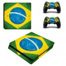 Flag of Brazil decal skin sticker for PS4 Slim console and controllers